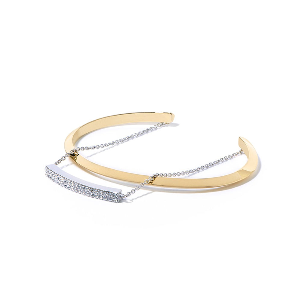 Cira Pave Pre-layered Cuff - 2 Tone Gold and Rhodium