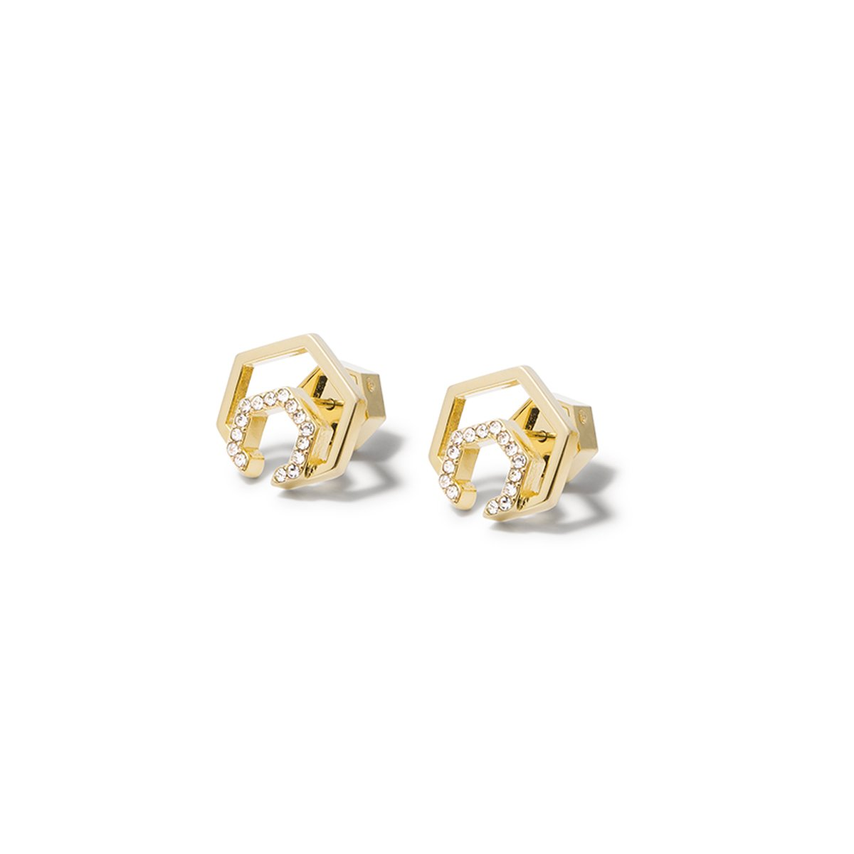 Aris Pave Cut-out Earrings - Gold
