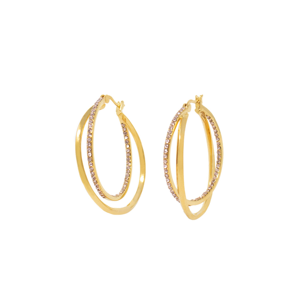 Cira Intertwined Pavé Hoop Earrings - Vintage Rose