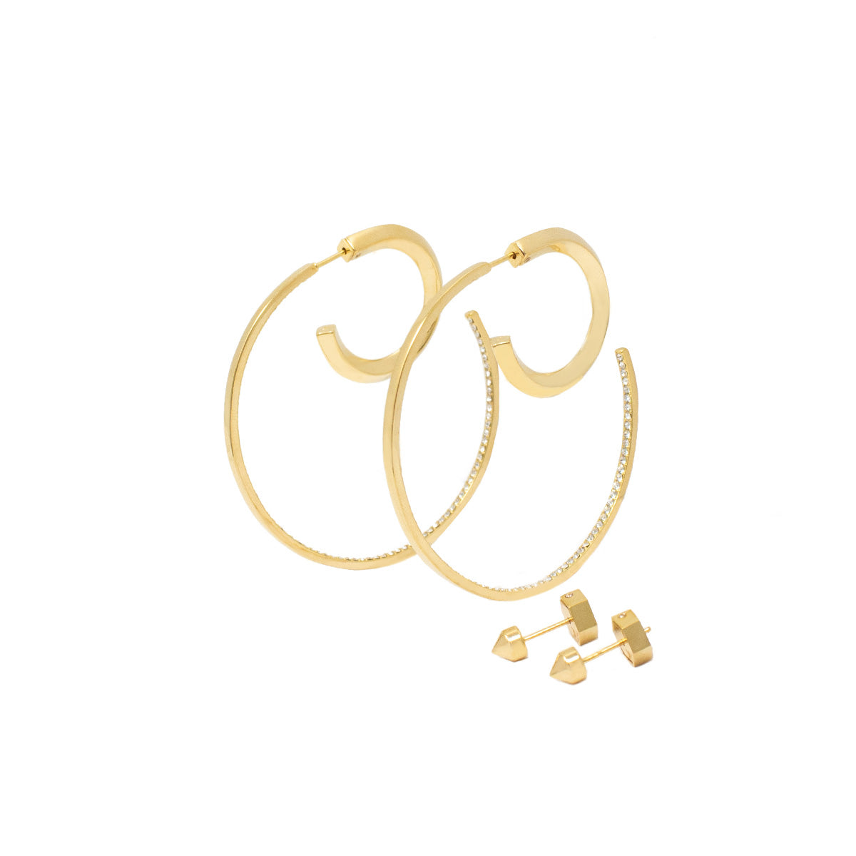Cira Reversible Hoop Earrings Set - Gold