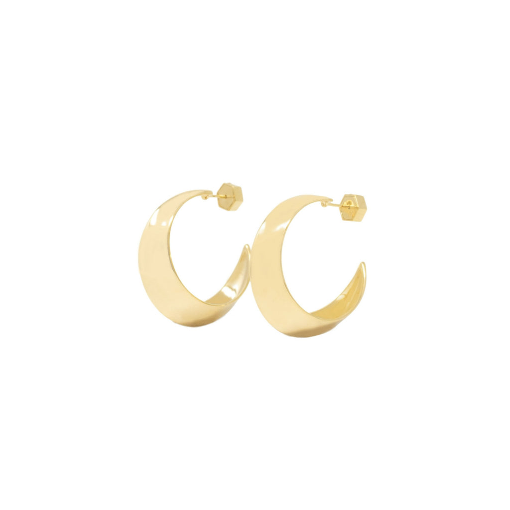 Sculpture Hoop Earrings - Gold