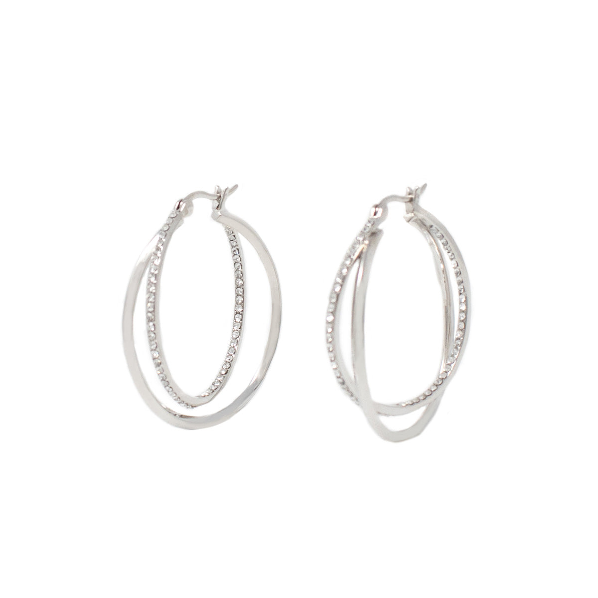 Cira Intertwined Pavé Hoop Earrings - Rhodium