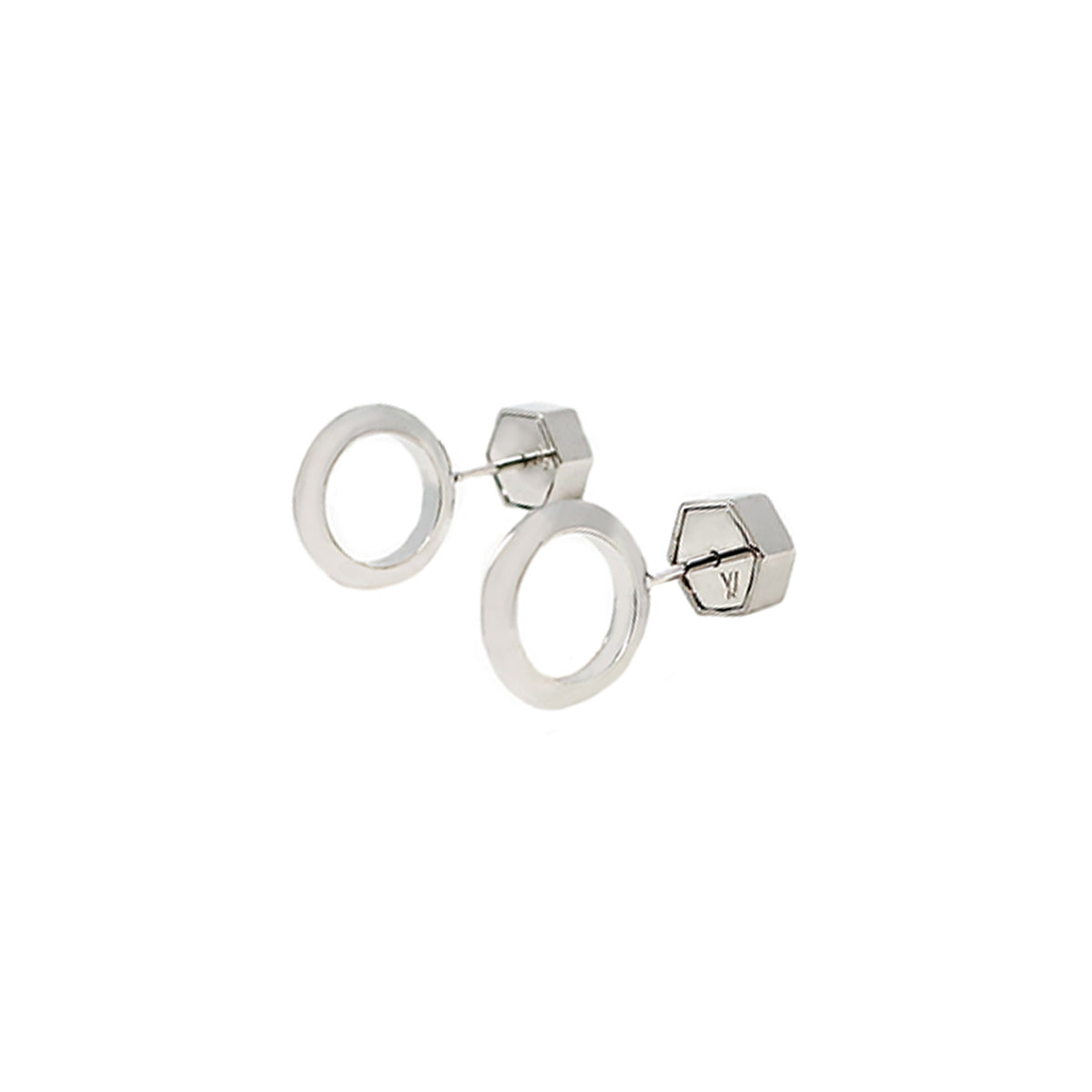 Cira Small Circle Studs - Rhodium