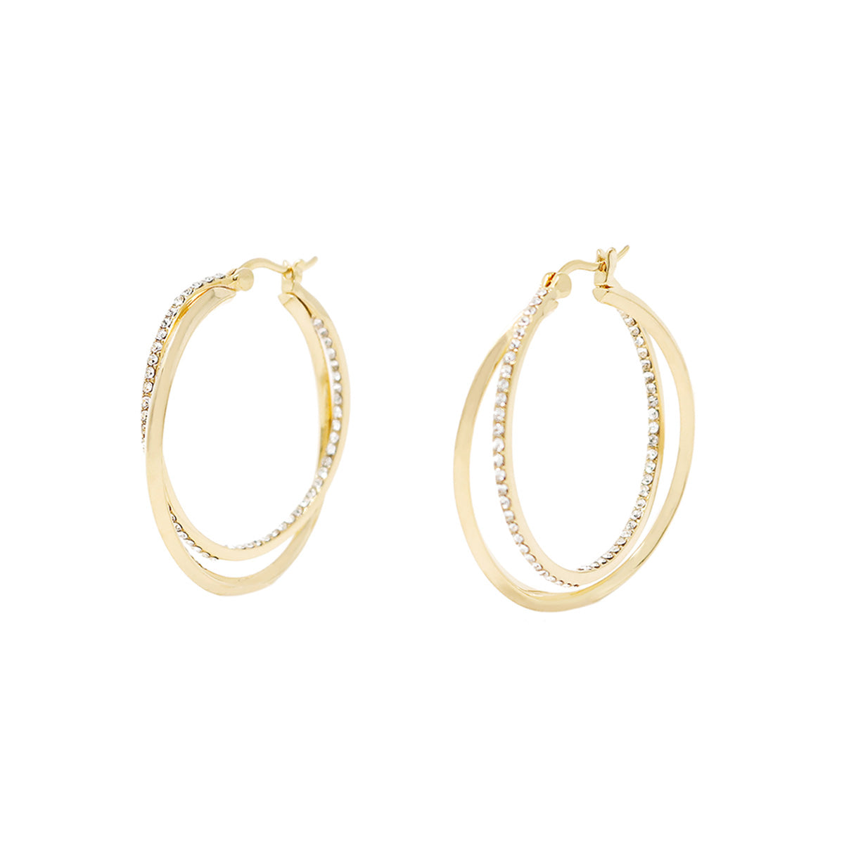 Cira Intertwined Pavé Hoop Earrings - Gold