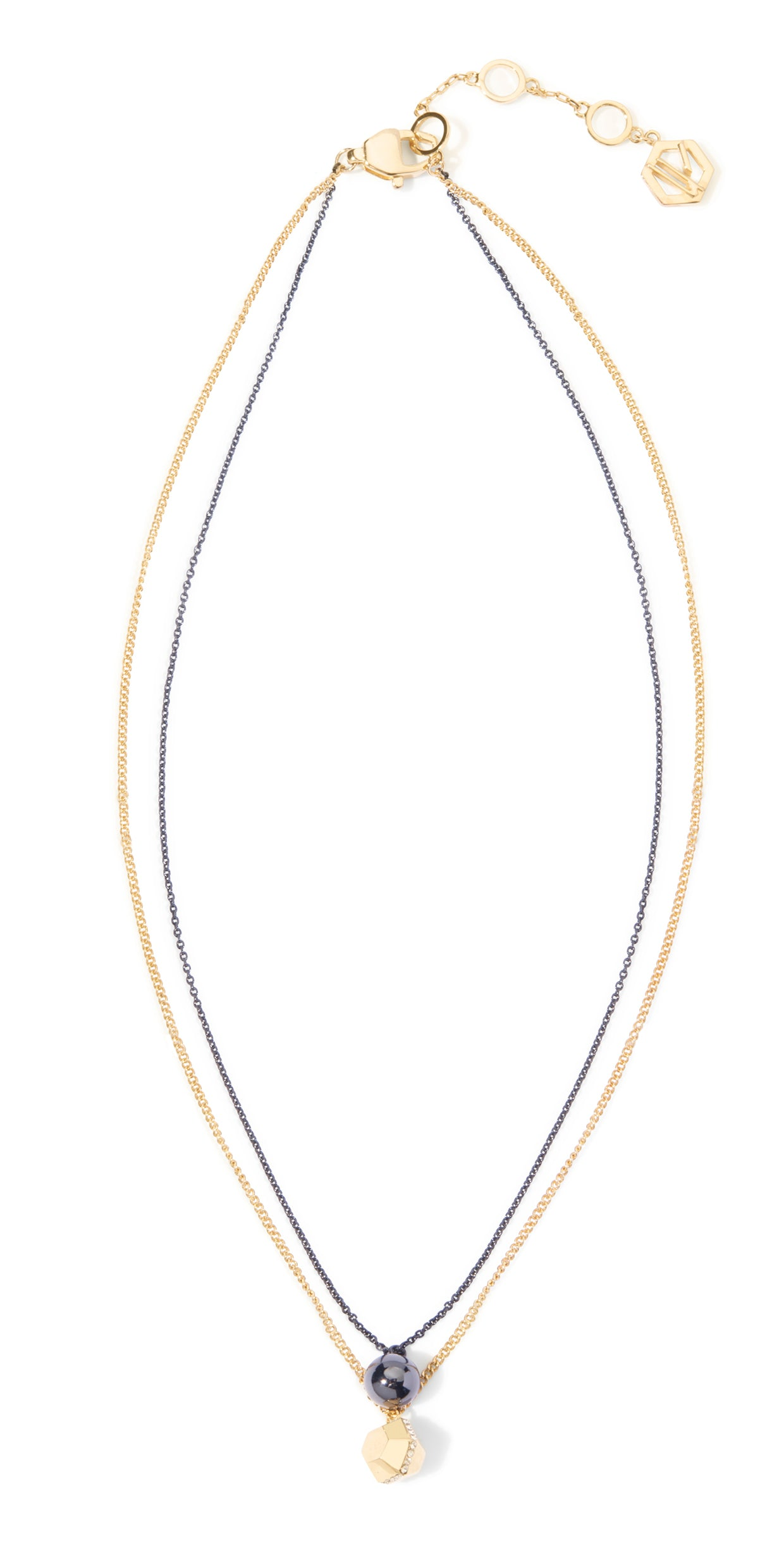Sixtine Layered Necklace - 2 Tone Gold and Hematite