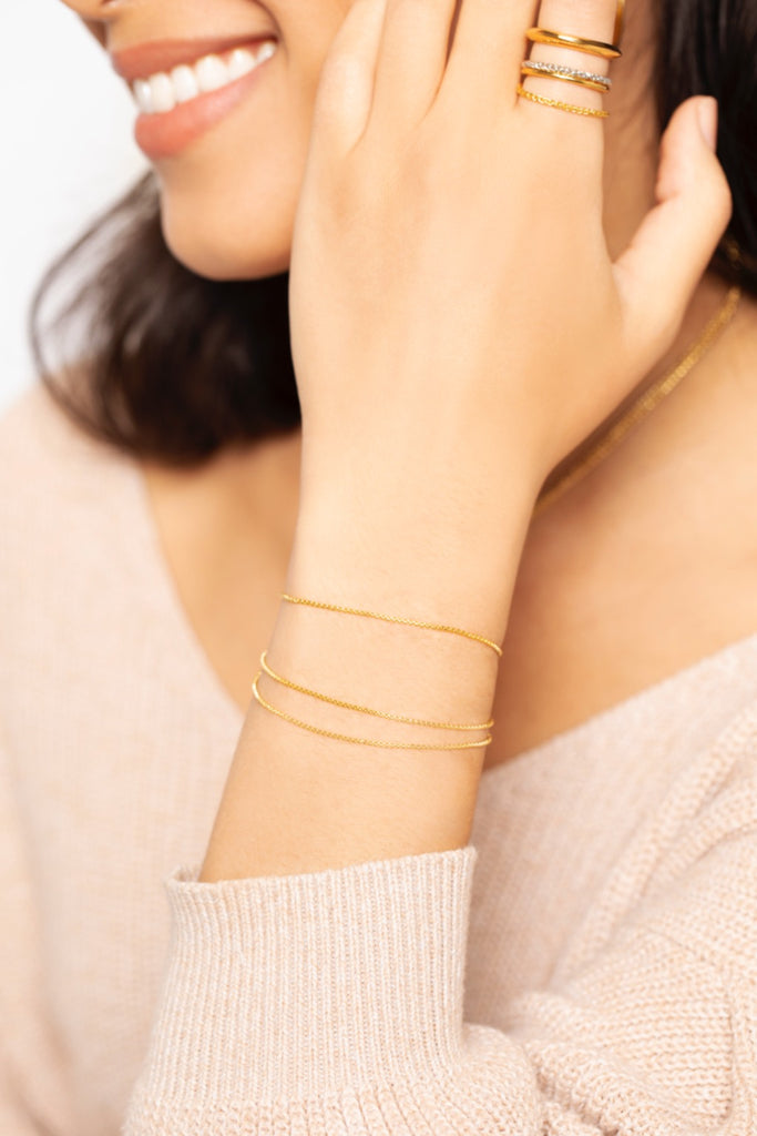 Essential Chain Layered Bracelet - Gold