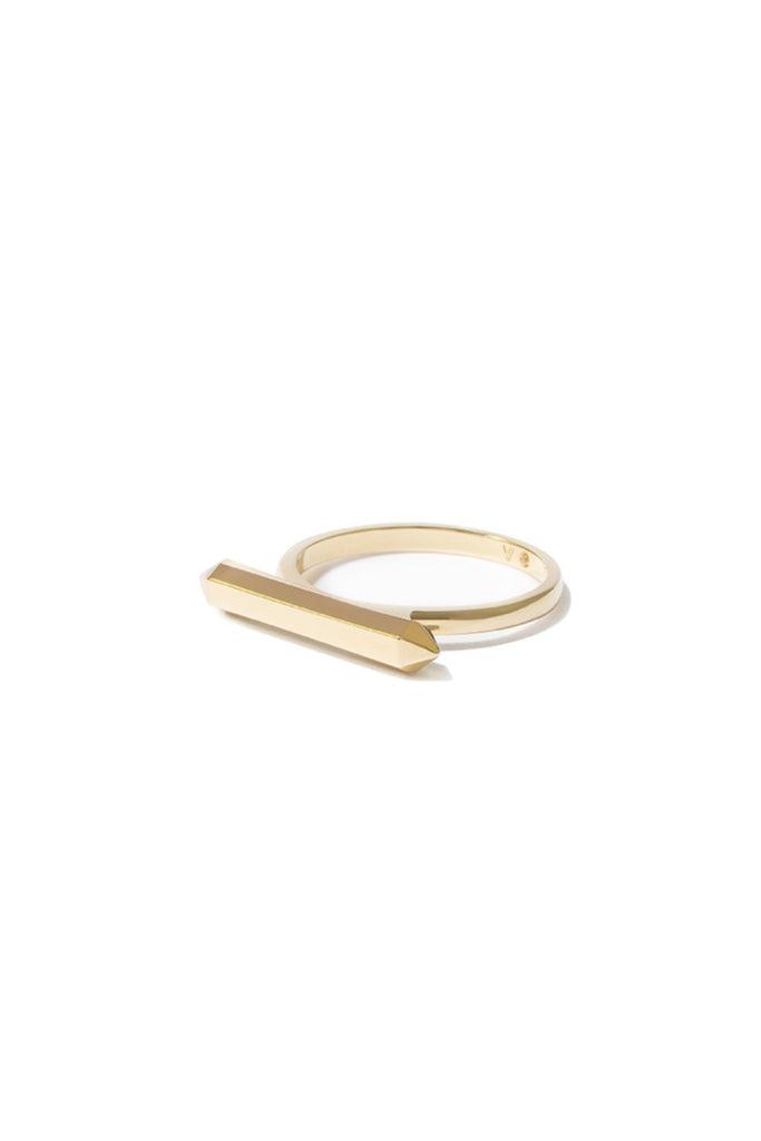 Essential Hexagon Bar Ring - Gold