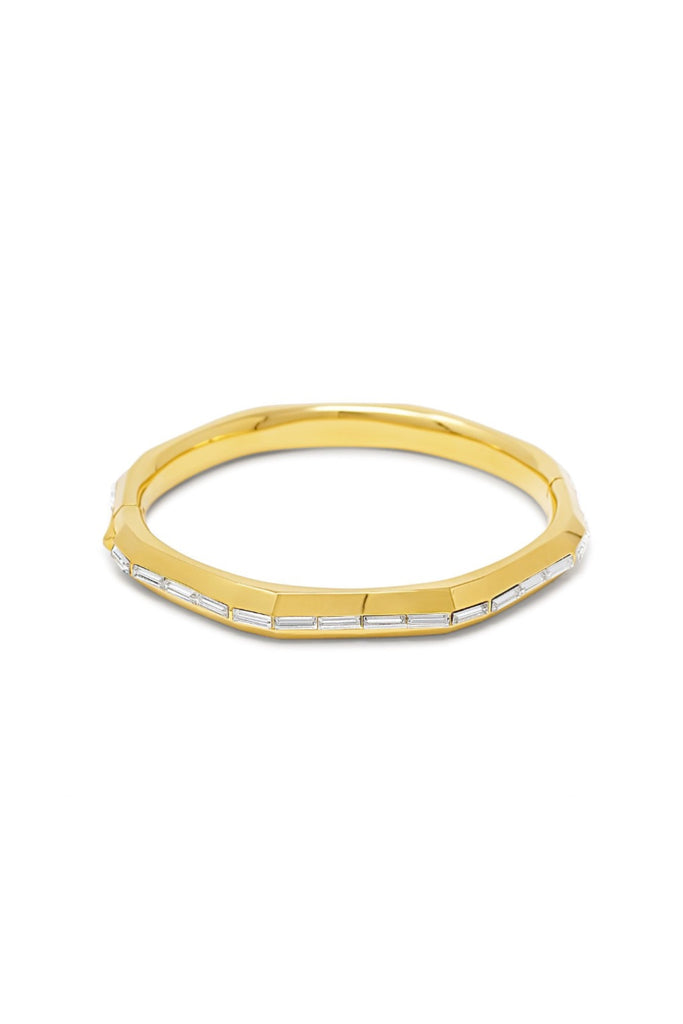 Essential Baguette Inlay Hinged Bangle - Gold