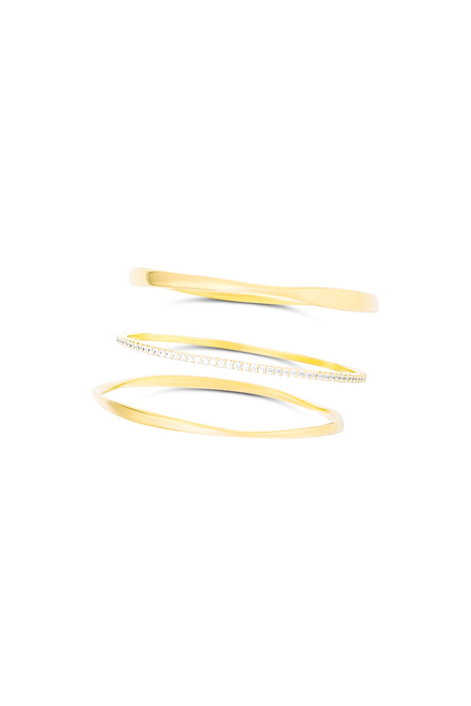 Rhythm Twisted Circle Stacking Bangle Set - Gold