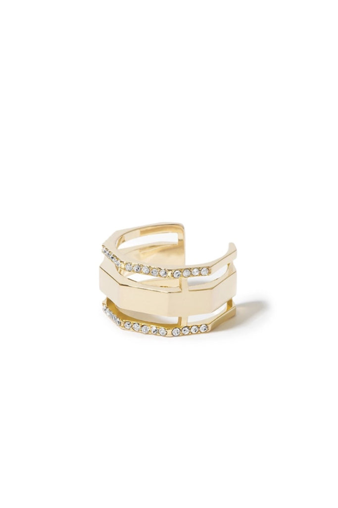 Essential Pave Faceted Cut-out Ring - Gold