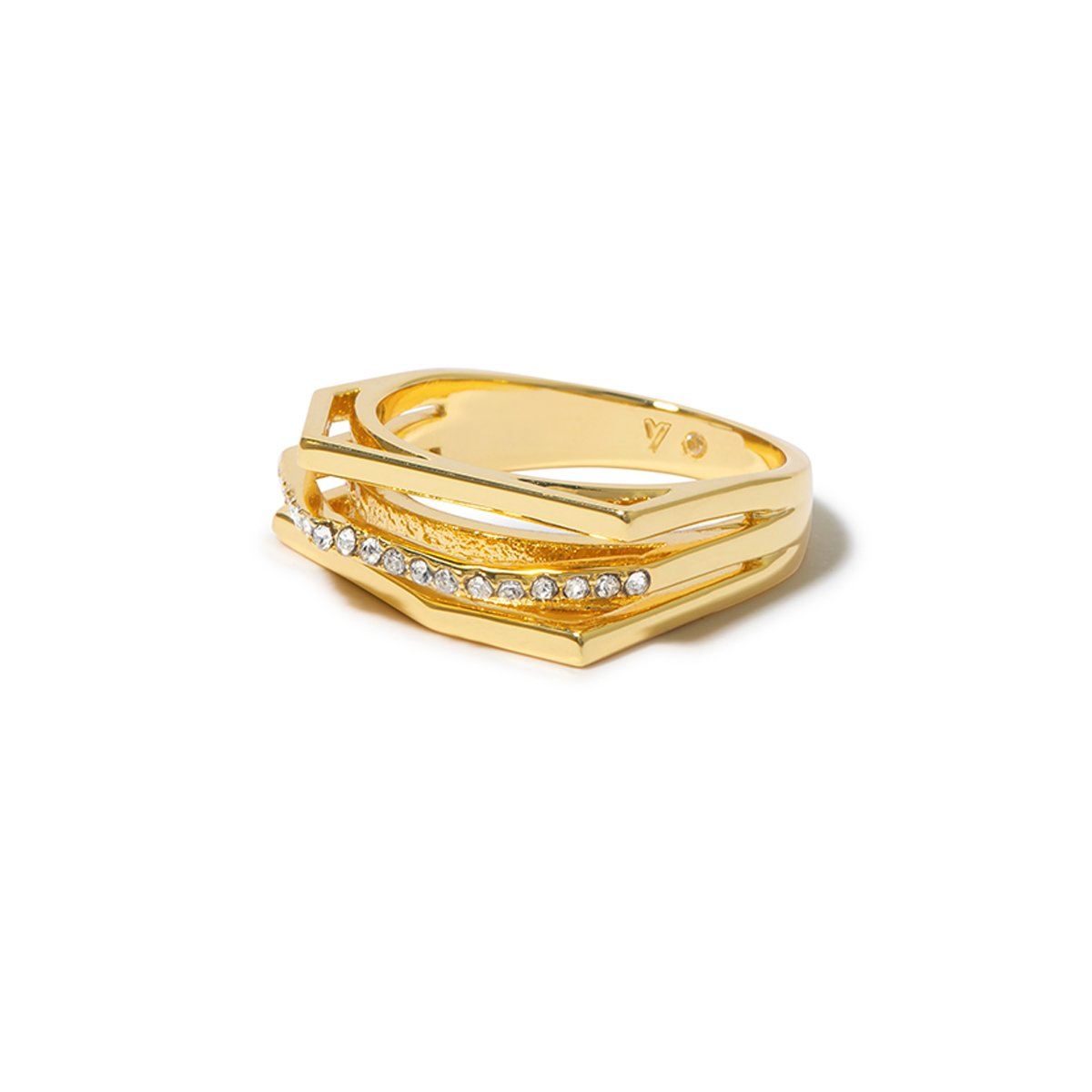 Aris Pave Cut-out Ring - Gold
