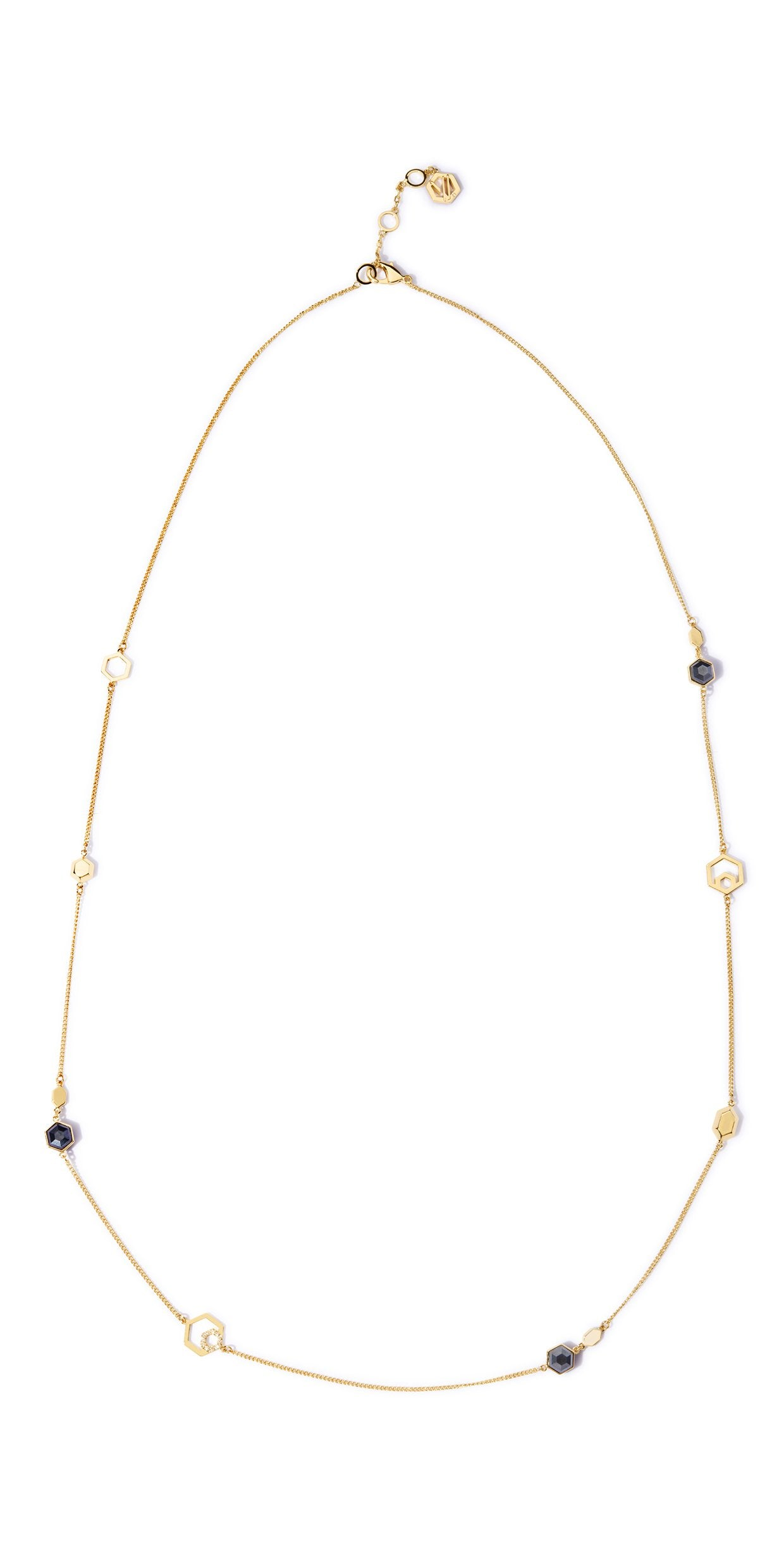 Colette Station Necklace - 2 Tone Gold and Hematite