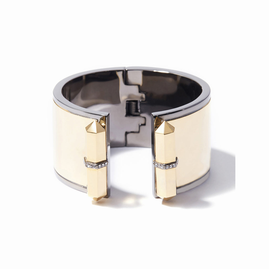 Colette Open Hinge Cuff - 2 Tone Gold and Hematite