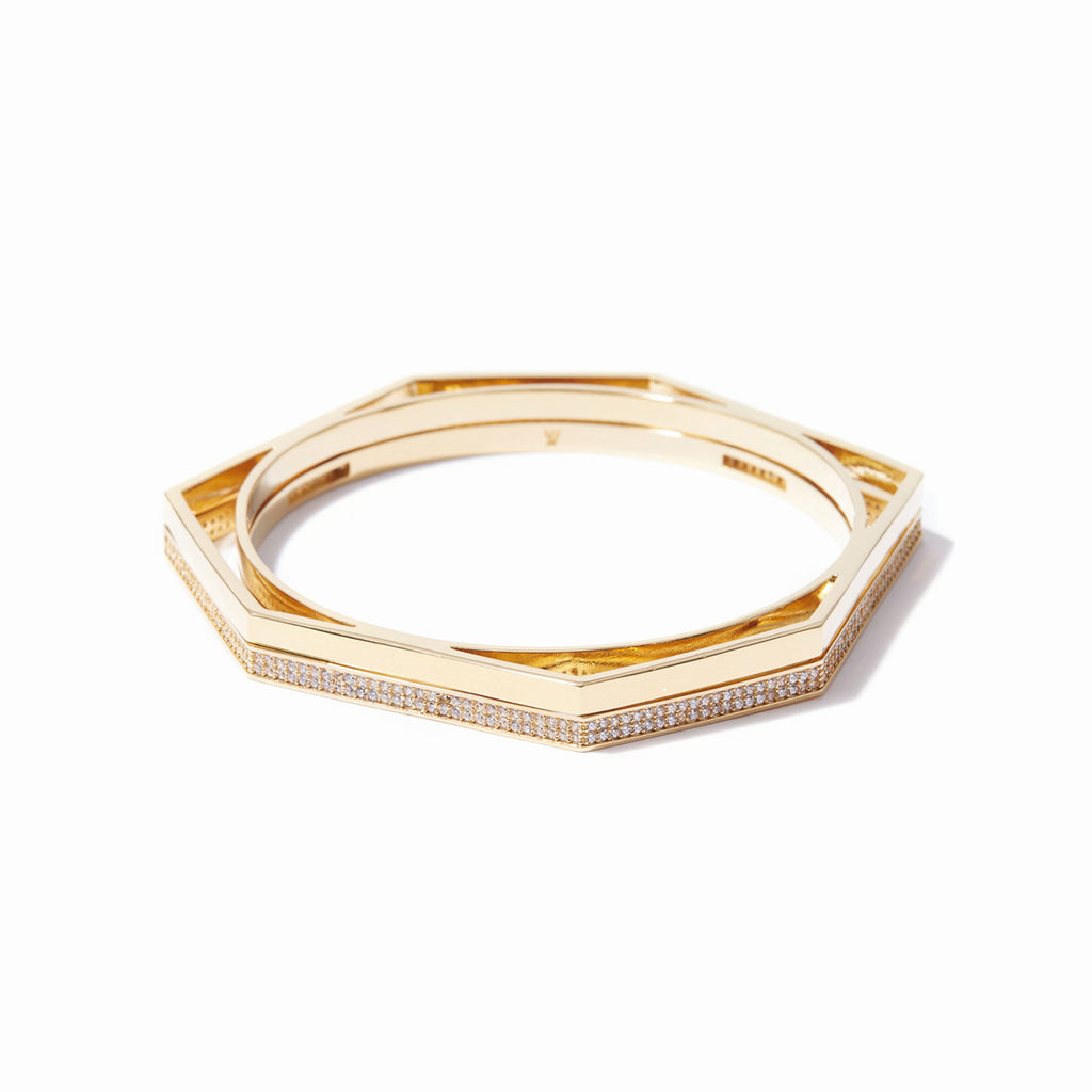 Aris Pave Cut-out Bangle Set - Gold