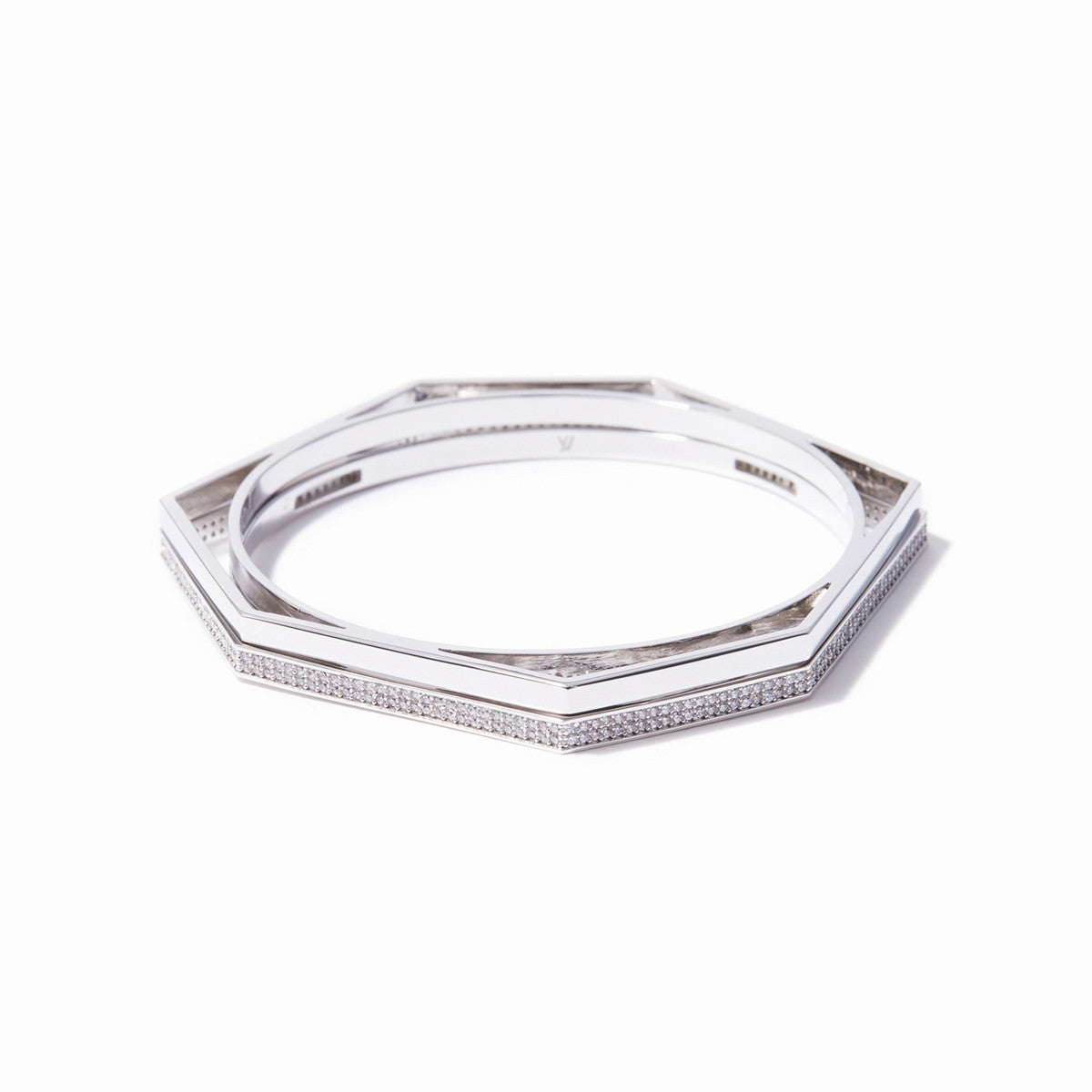 Aris Pave Cut-out Bangle Set - Rhodium