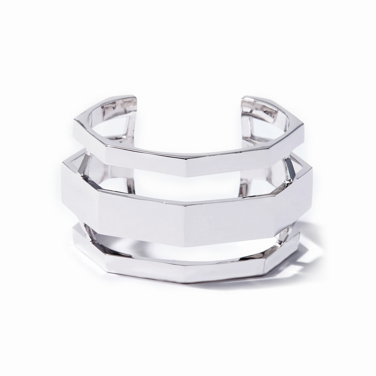 Aris Wide Cuff - Rhodium