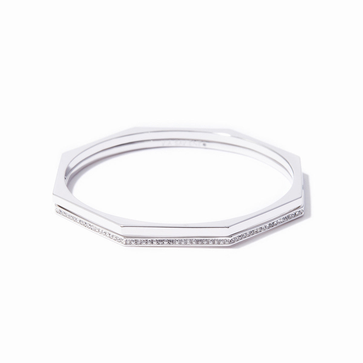 Aris Pave Bangle Set - Rhodium