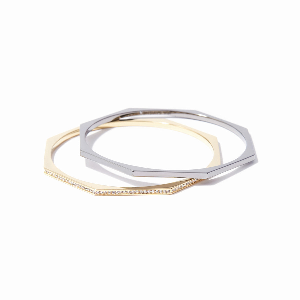 Aris Pave Bangle Set - 2 Tone Gold and Hematite