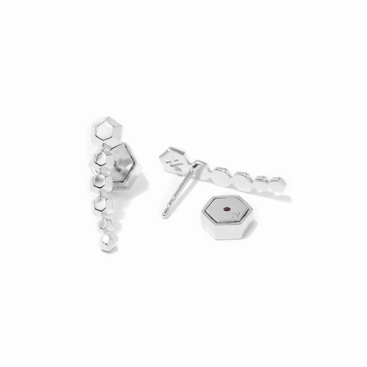 Sixtine Hexagon Ear Crawlers - Rhodium