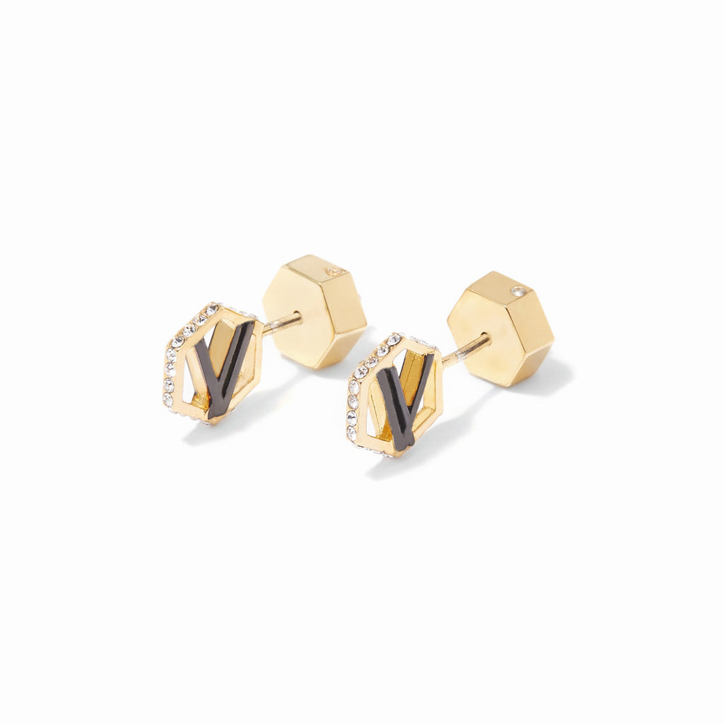 Colette Cut Out Logo Stud Earrings -  2 Tone Gold and Hematite