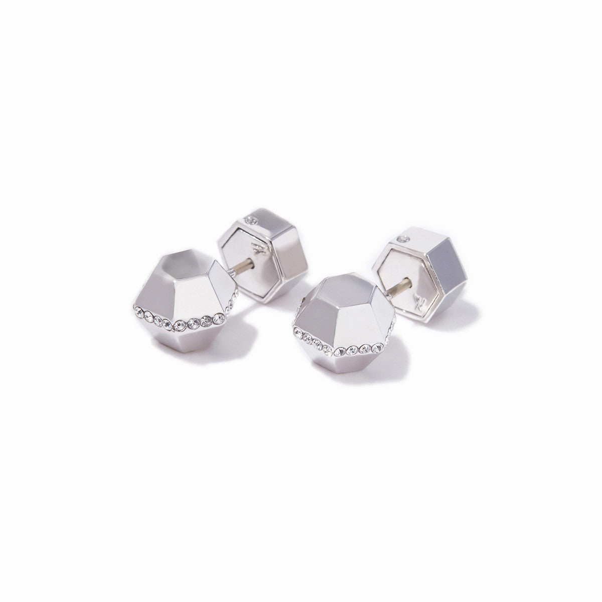 Sixtine Small Hexagon Studs - Rhodium