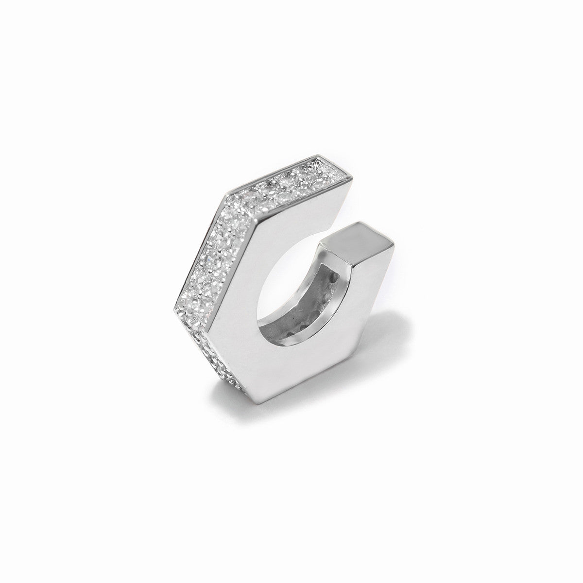 Aris Pave Ear Cuffs - Rhodium