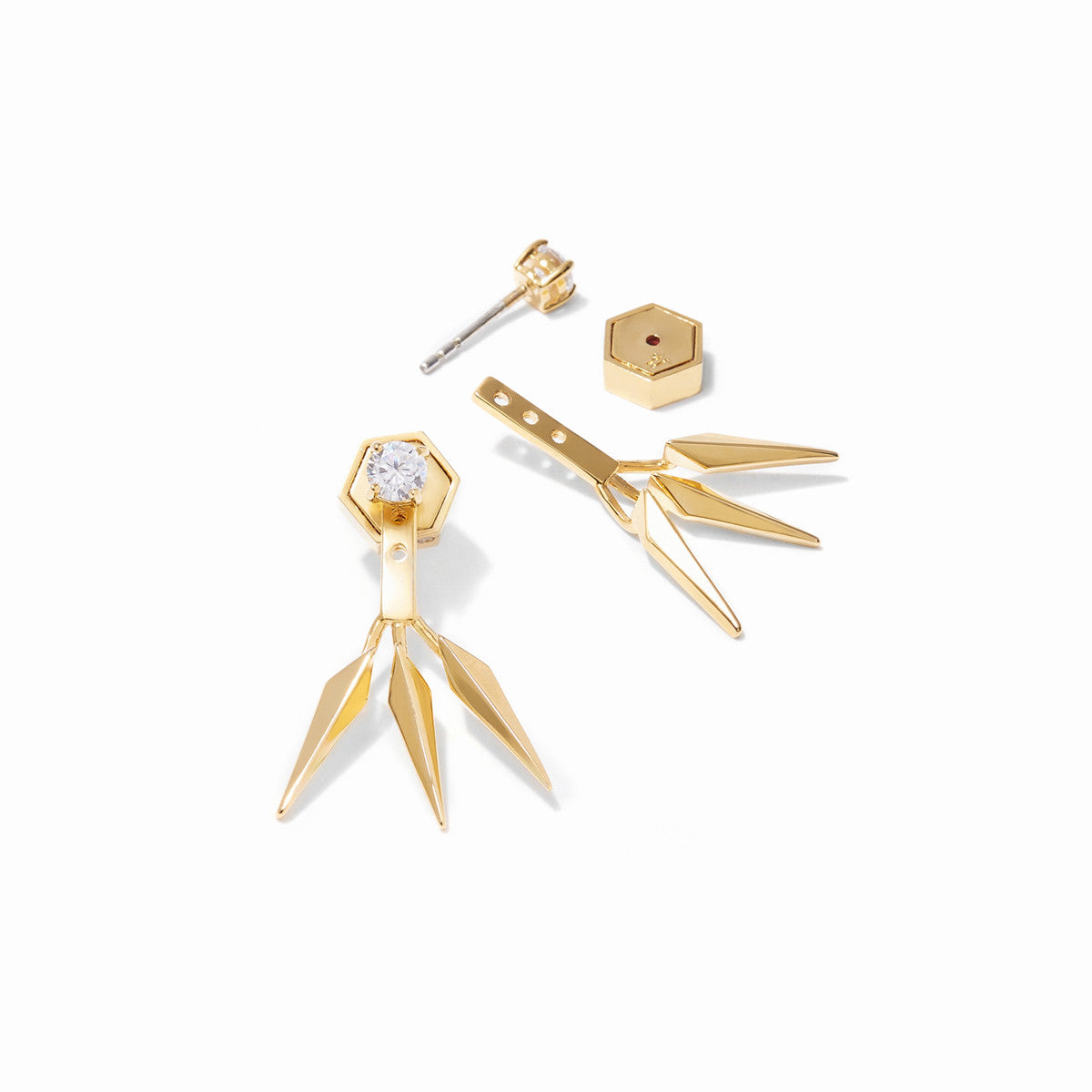 Vide CZ Ear Jackets - Gold