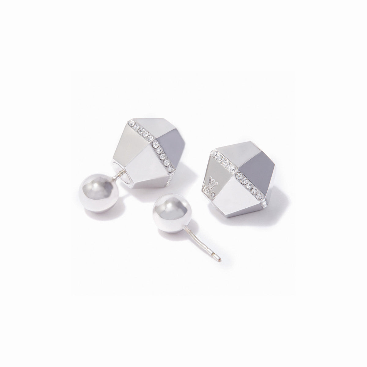 Sixtine Reversible Earrings - Rhodium