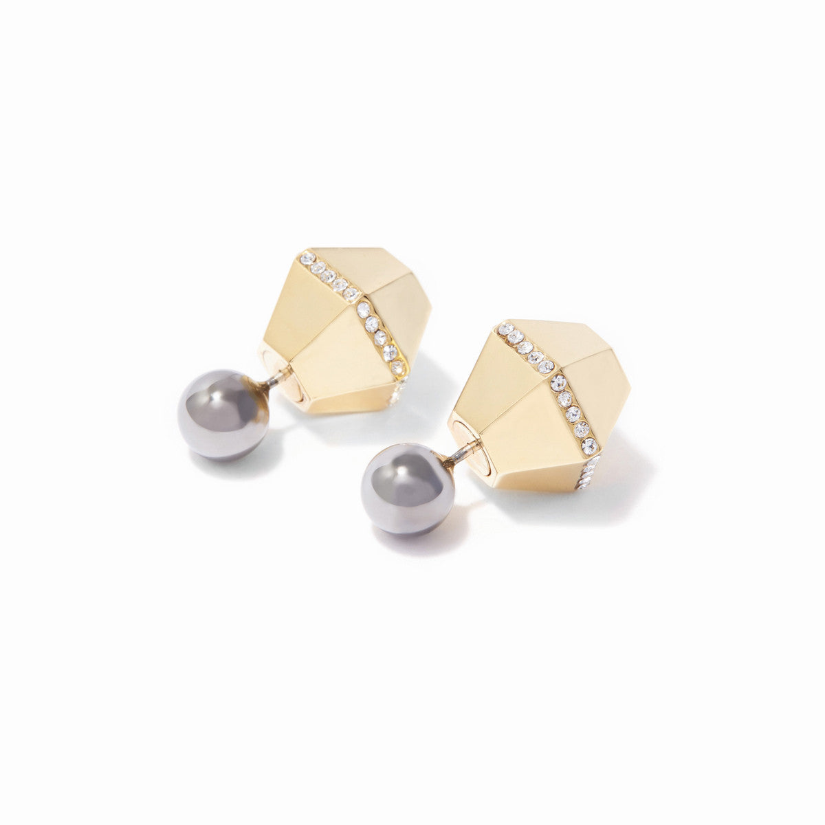 Sixtine Reversible Earrings - 2 Tone Gold and Hematite