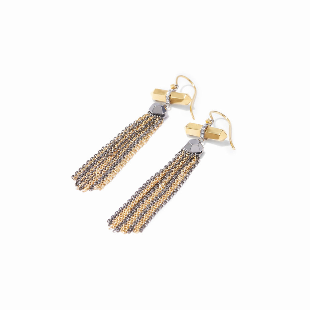 Colette Fringe Earrings - 2 Tone Gold and Hematite