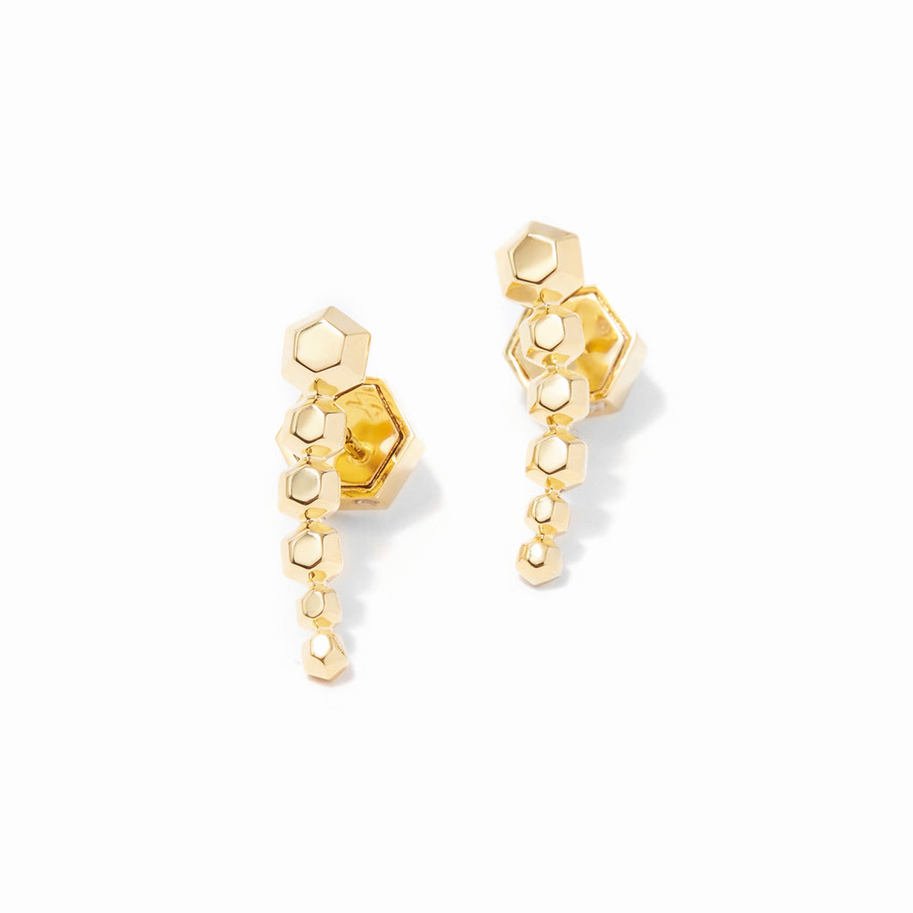 Sixtine Hexagon Ear Crawlers - Gold