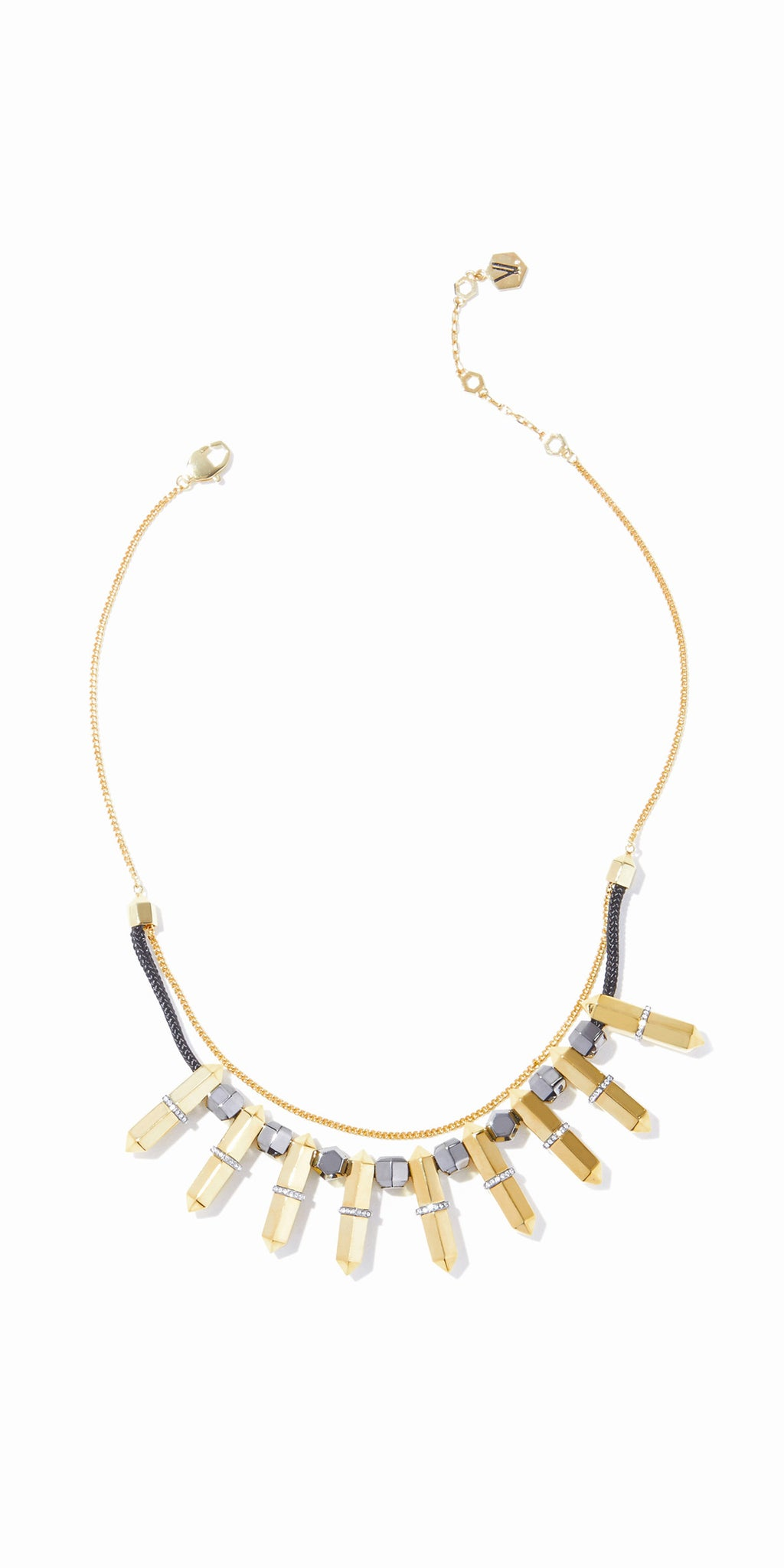Colette Statement Necklace - 2 Tone Gold and Hematite