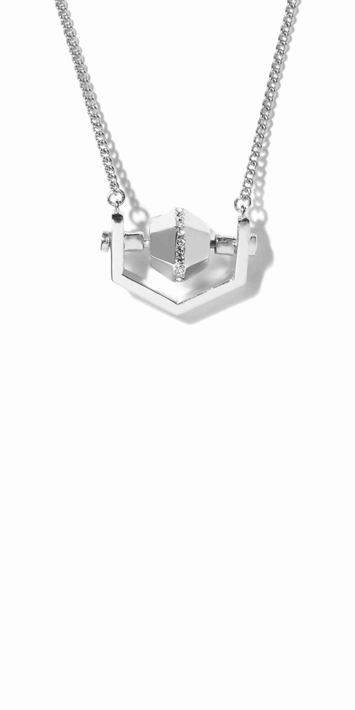 Sixtine Hexagon Pendant - Rhodium