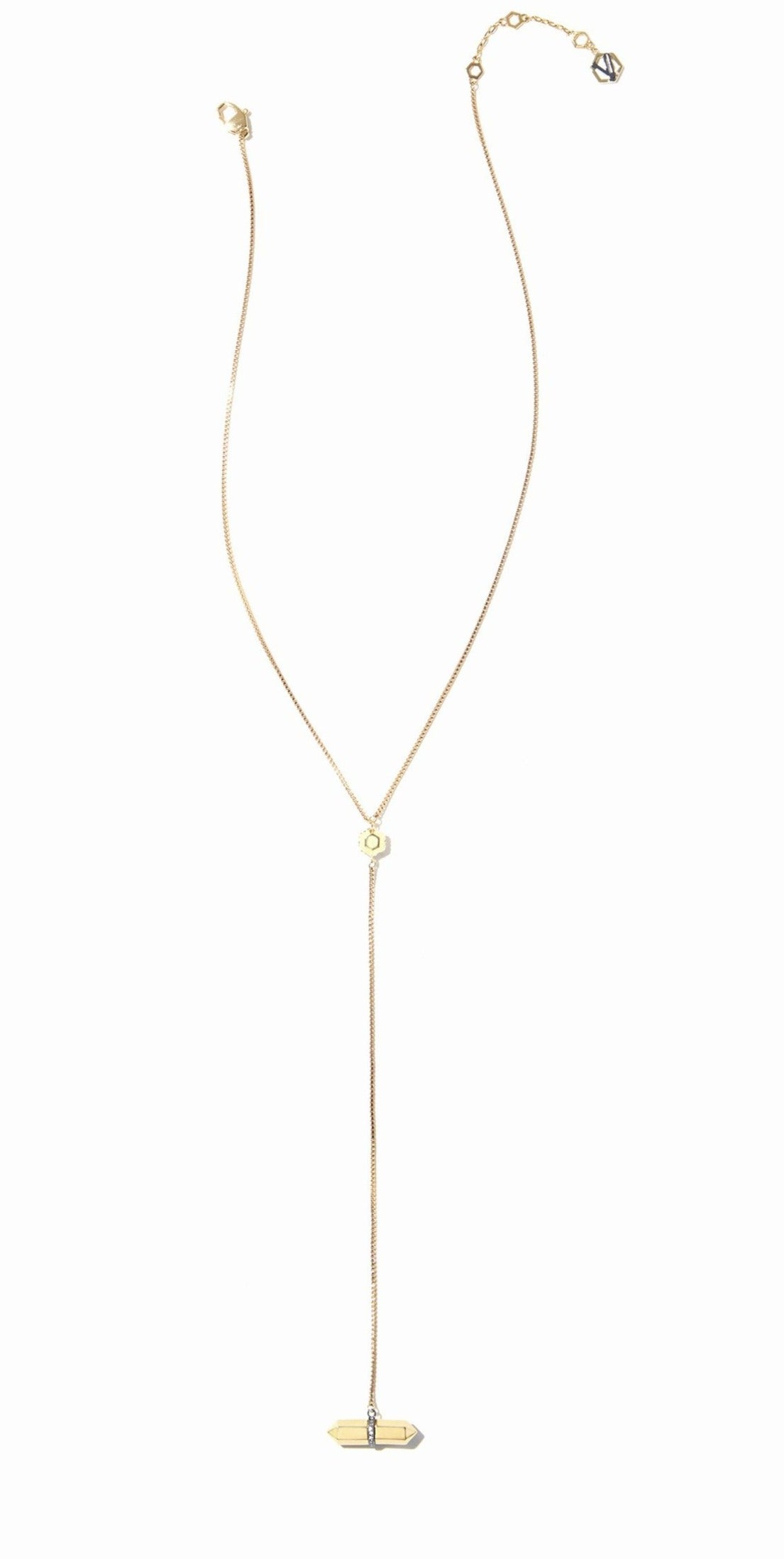 Colette Drop Necklace - 2 Tone Gold and Hematite