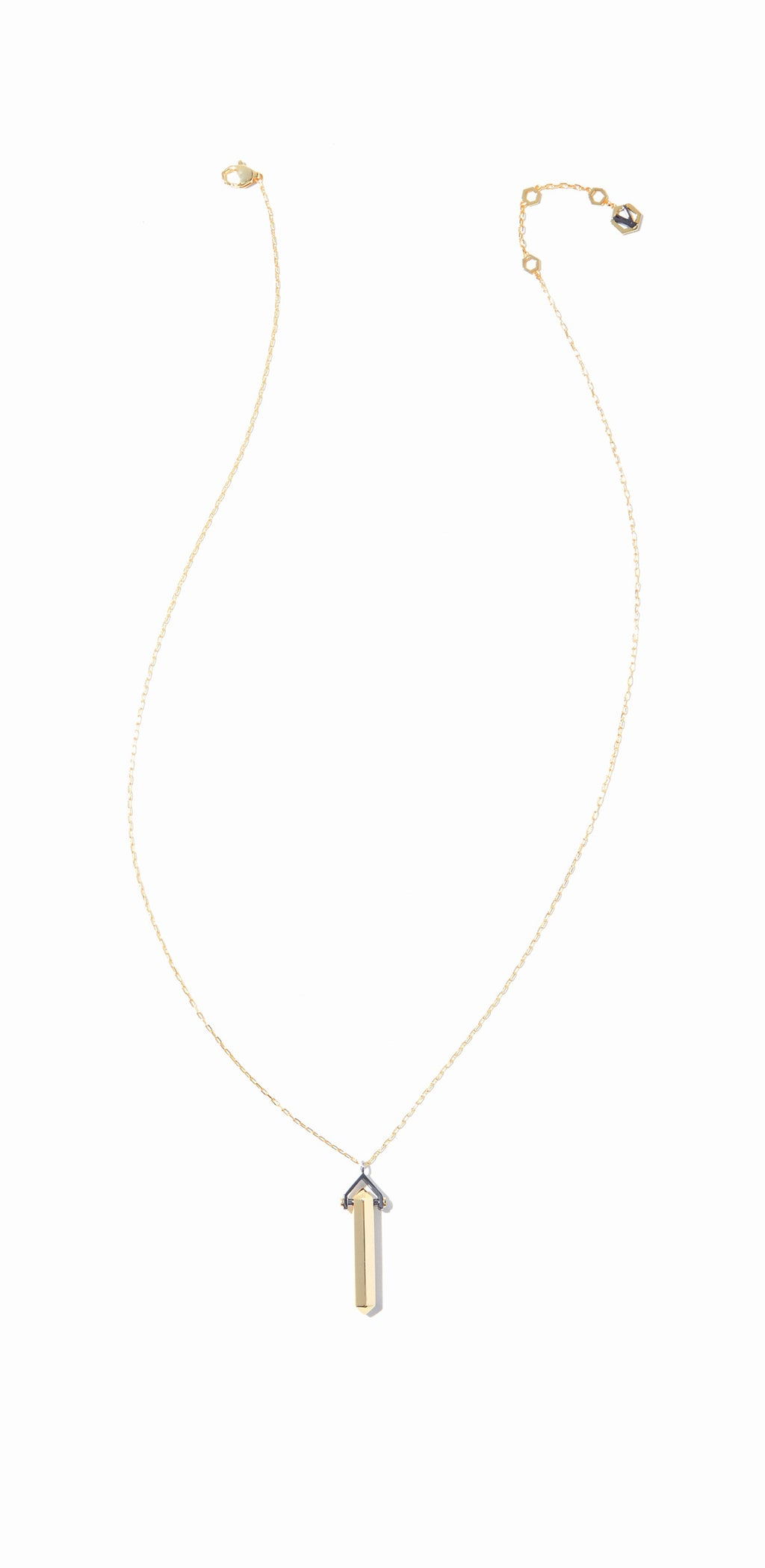 Aurum Long Necklace - 2 Tone Gold and Hematite