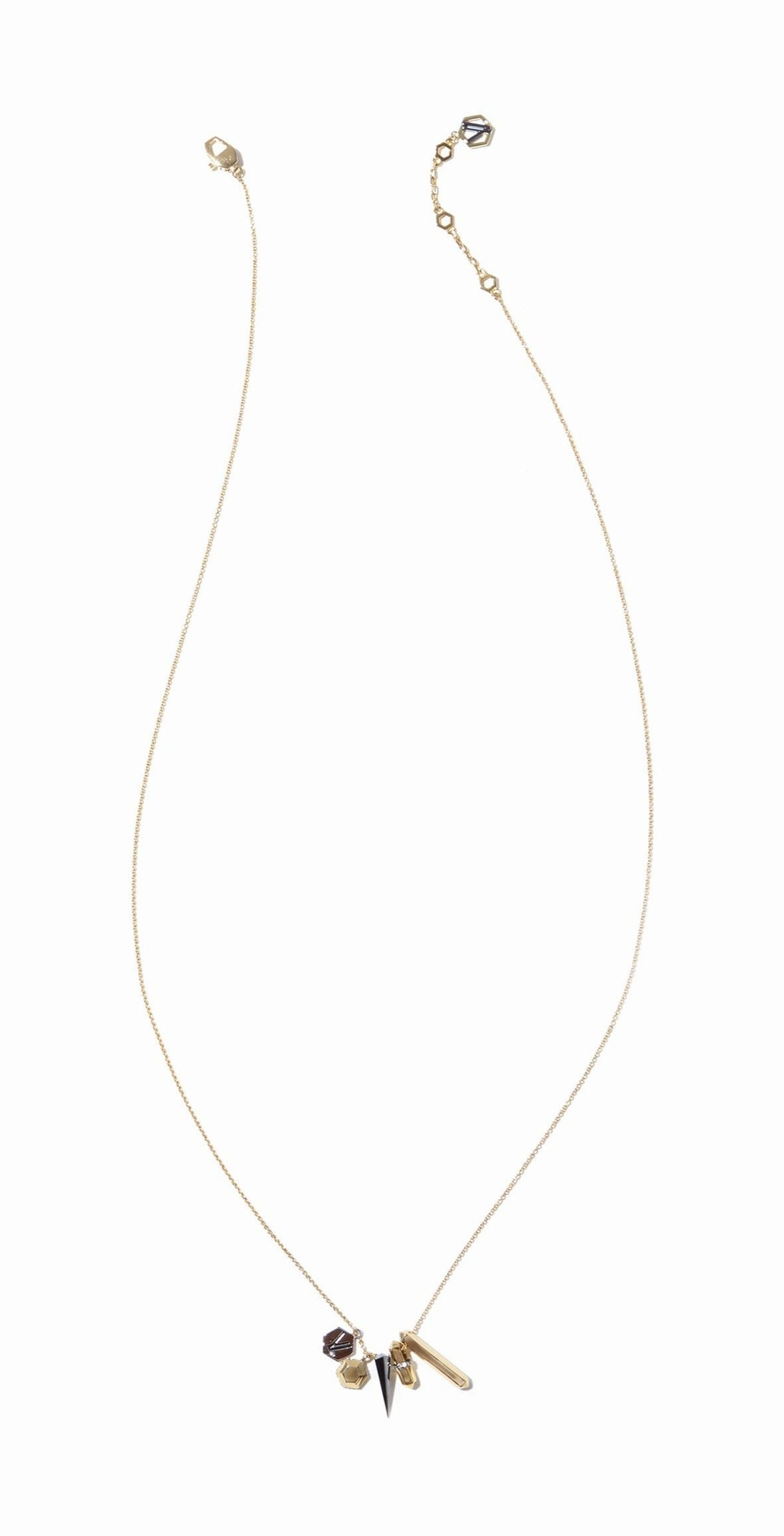 Colette Charm Necklace - 3 Tone Gold, Rhodium and Hematite