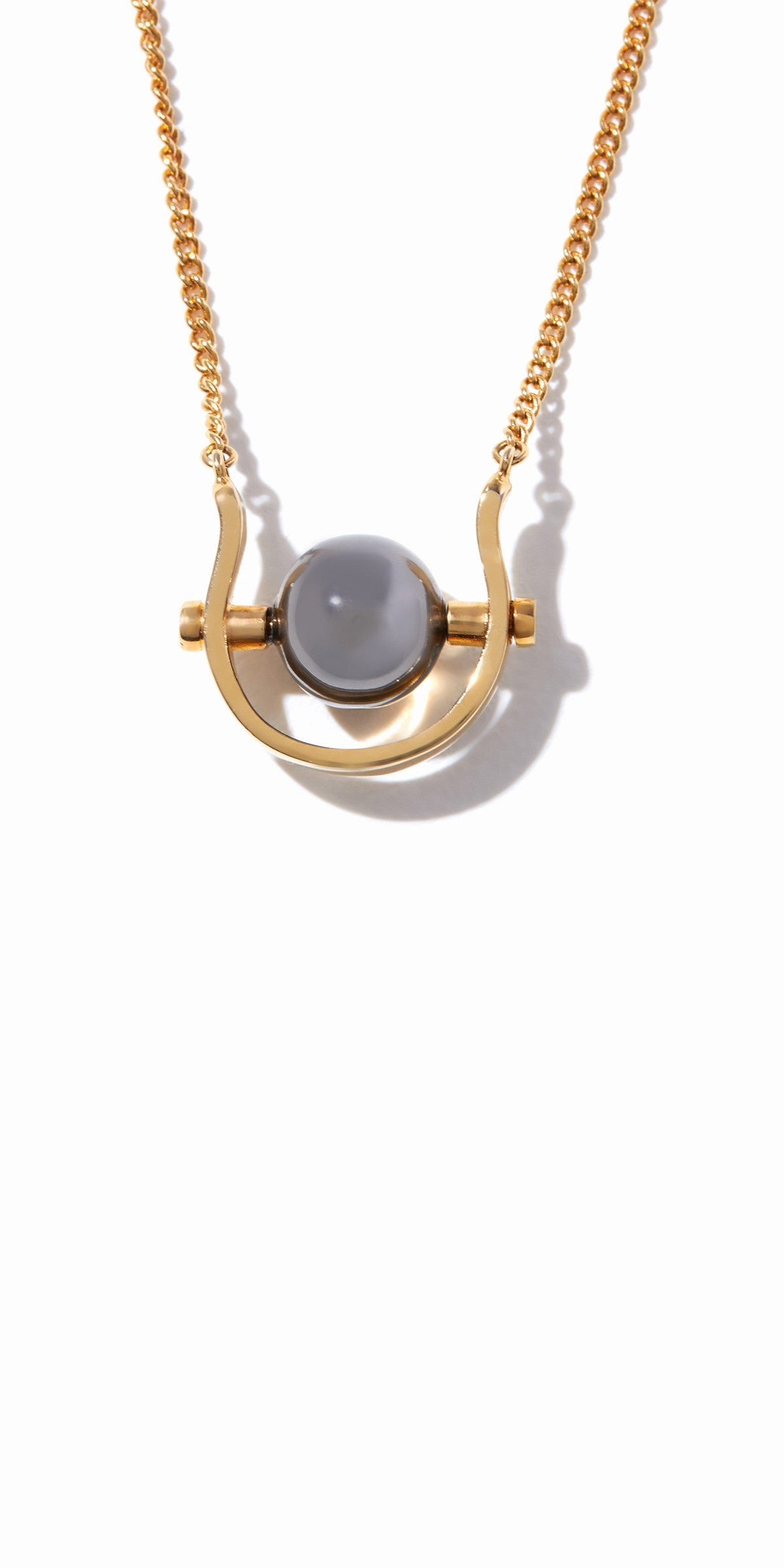 Sixtine Sphere Pendant - 2 Tone Gold and Hematite