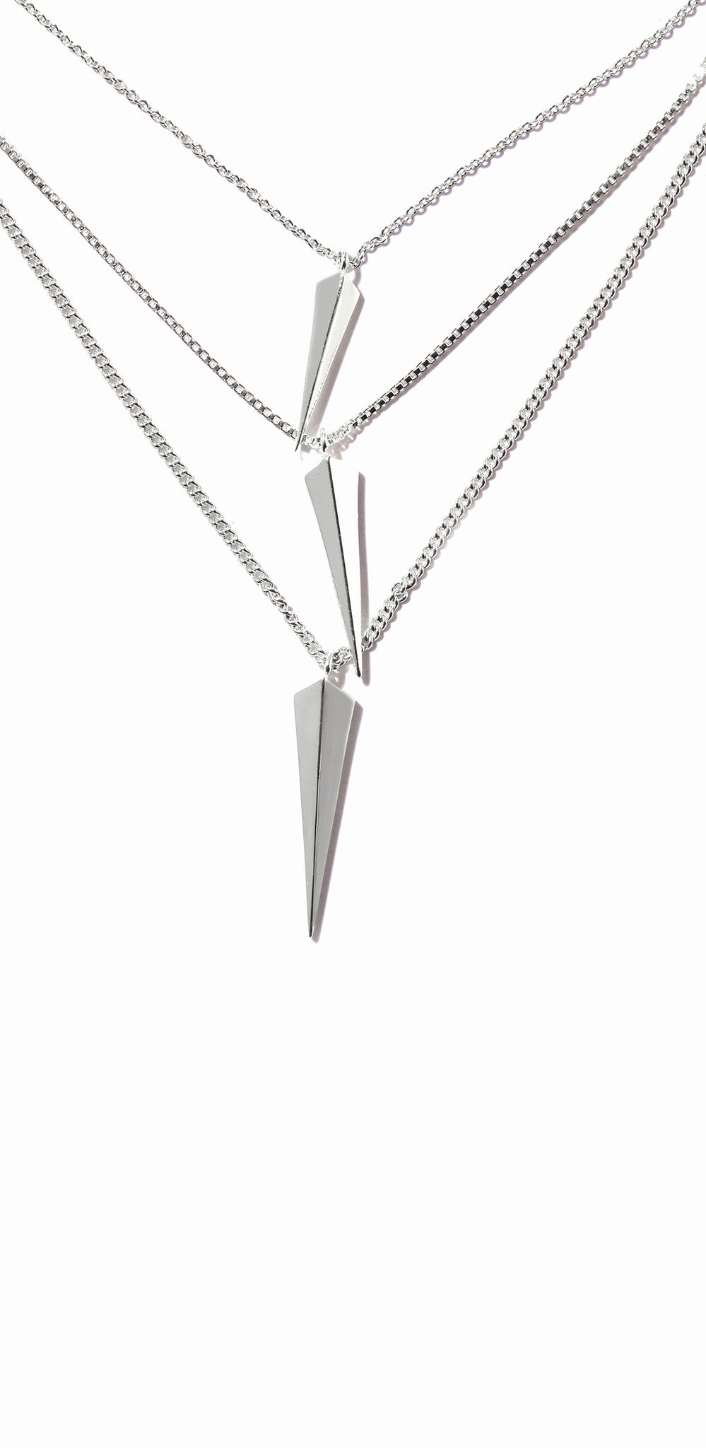 Vide Three-layered Necklace - Rhodium