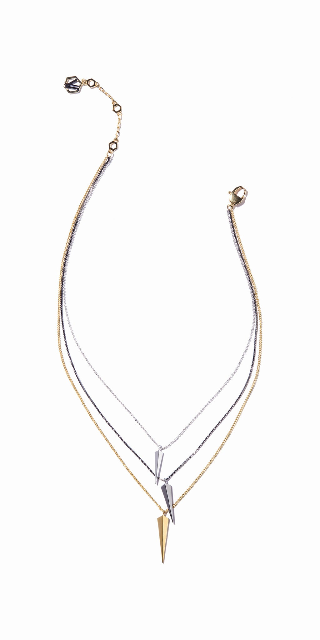 Vide Three-layered Necklace - 3 Tone Gold, Rhodium and Hematite