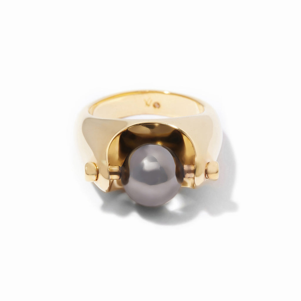 Sixtine Sphere Ring - 2 Tone Gold and Hematite