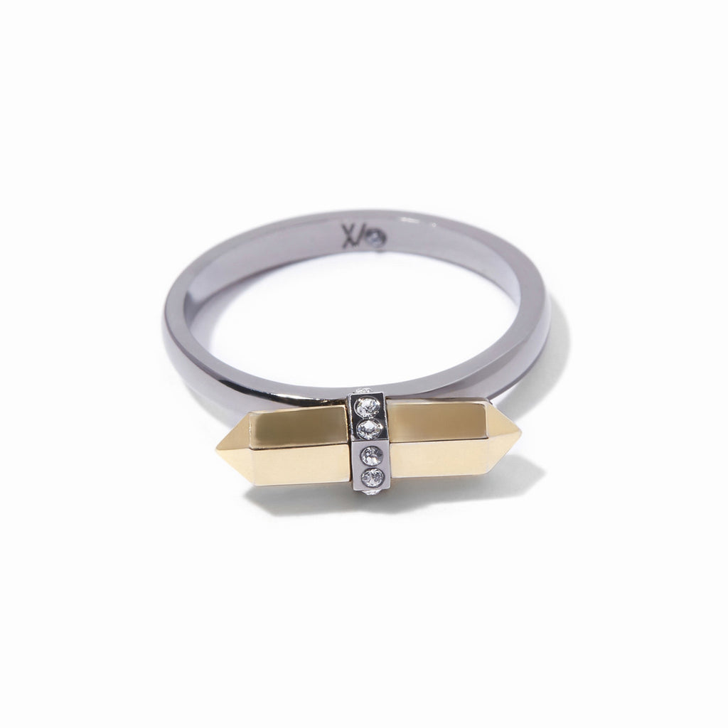 Colette Mini Ring - 2 Tone Gold and Hematite