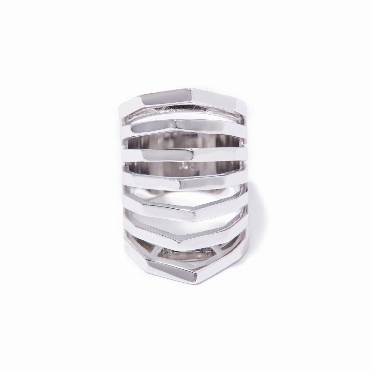 Aris Cut-out Ring - Rhodium