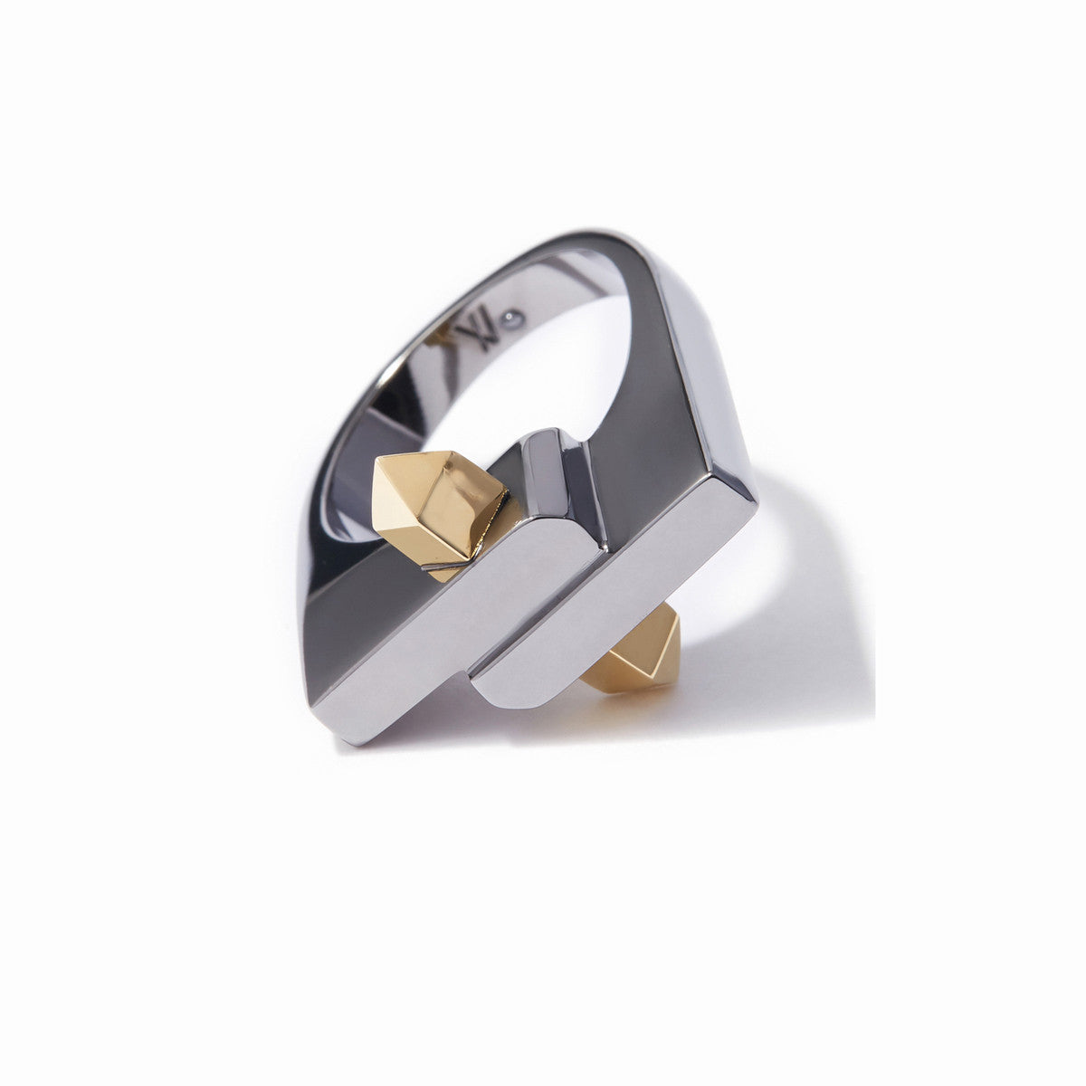 Aurum Two-Tone Ring -  2 Tone Gold and Hematite