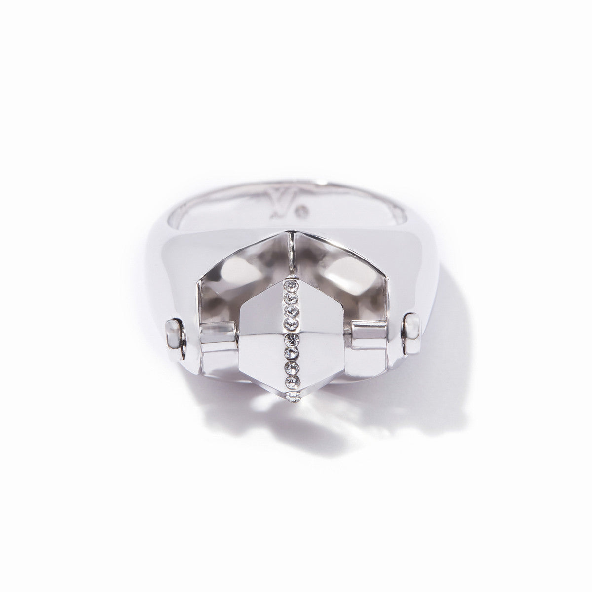 Sixtine Hexagon Statement Ring - Rhodium