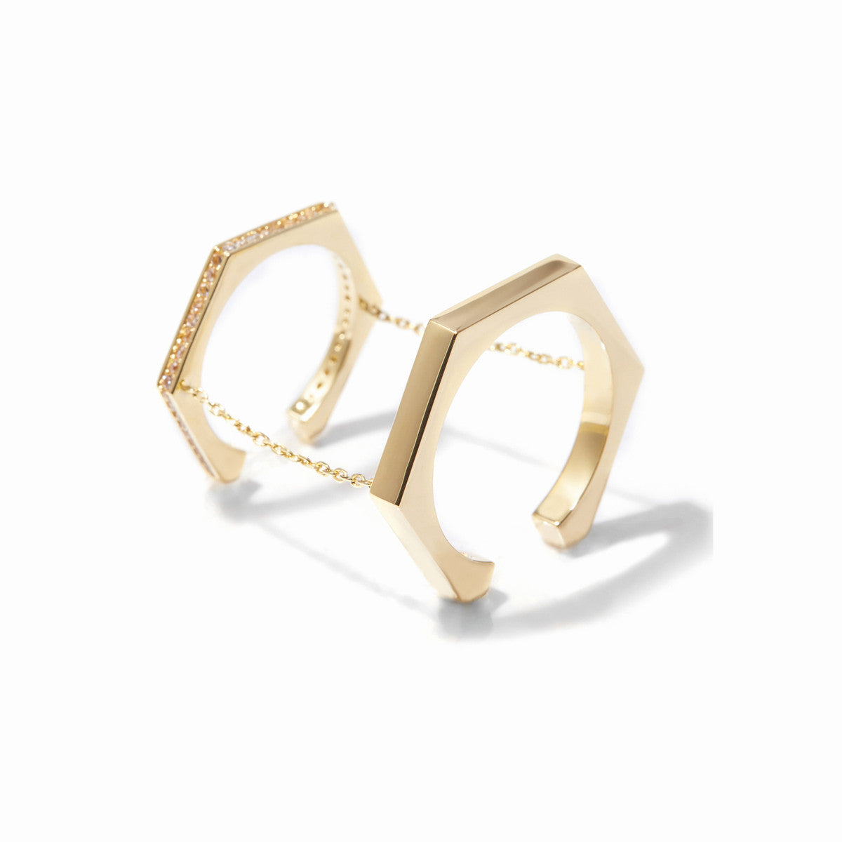 Aris Double Chained Rings - Gold