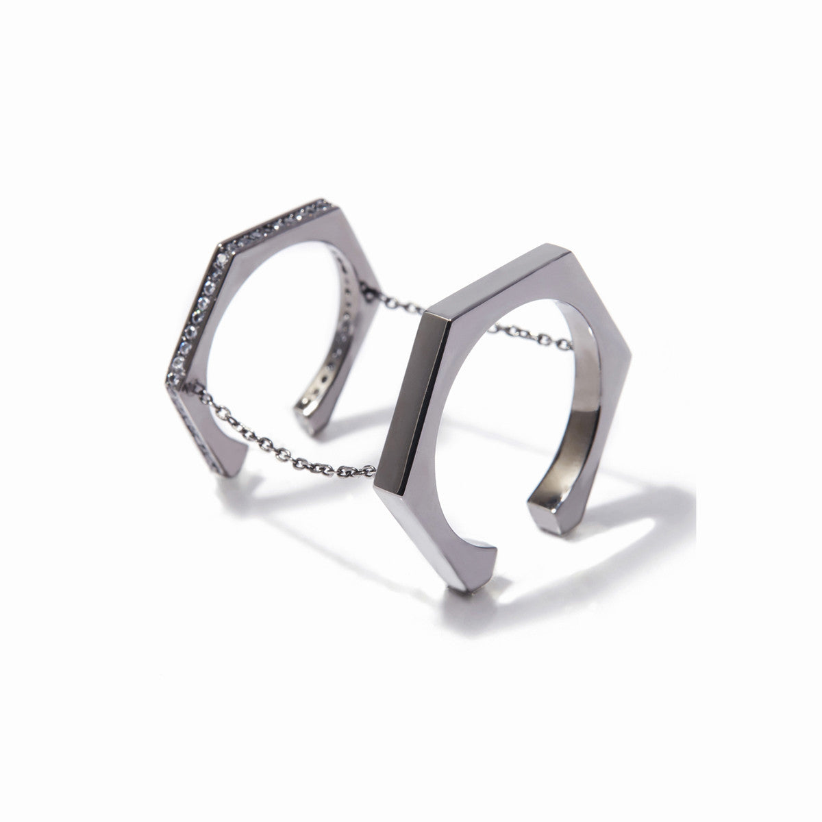 Aris Double Chained Rings - Hematite