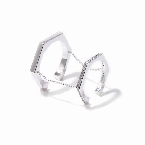 Aris Double Chained Rings - Rhodium