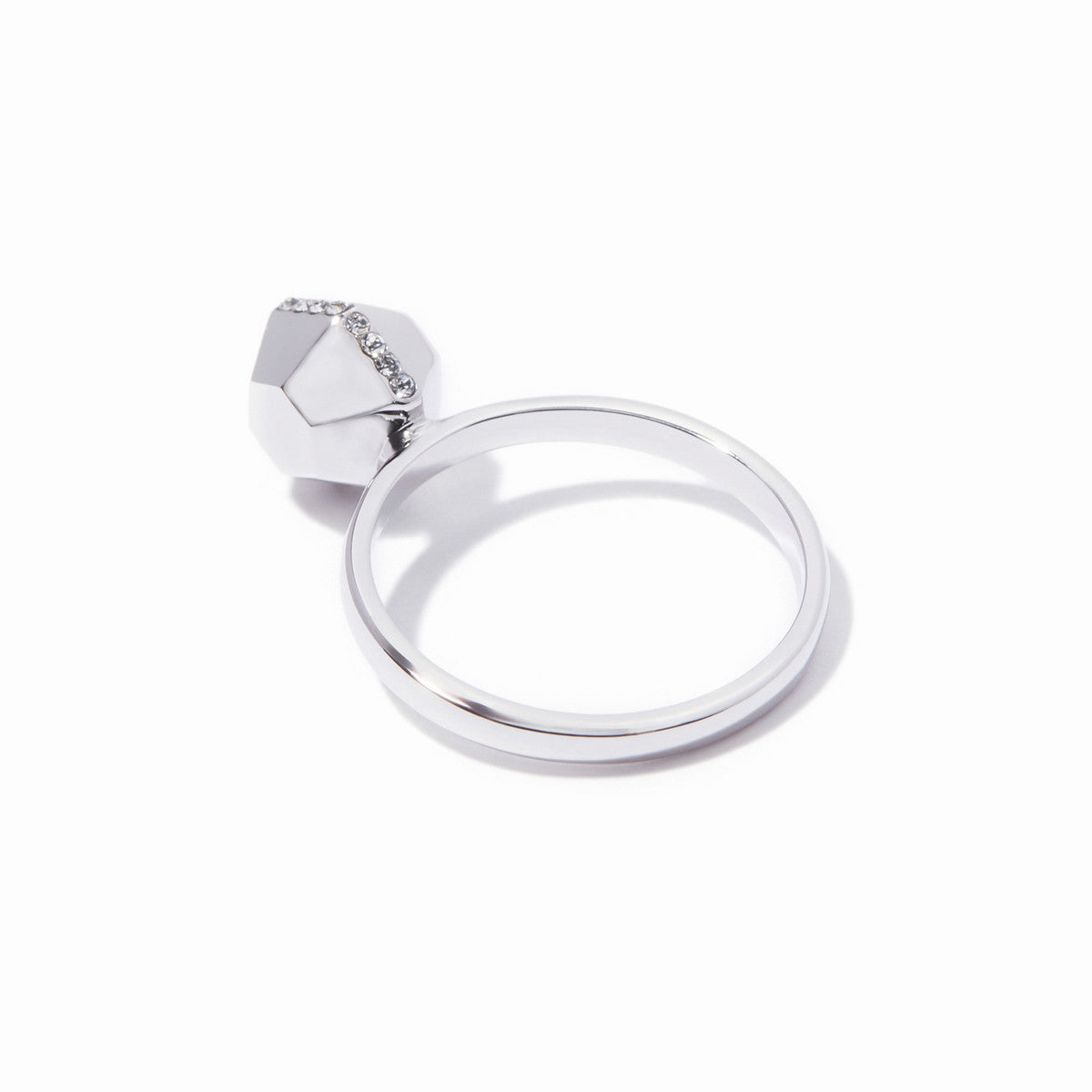 Sixtine Hexagon Ring - Rhodium