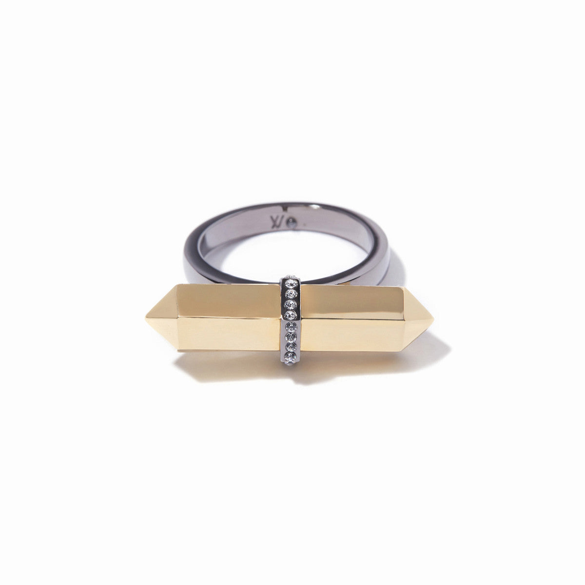 Colette Statement Ring - 2 Tone Gold and Hematite