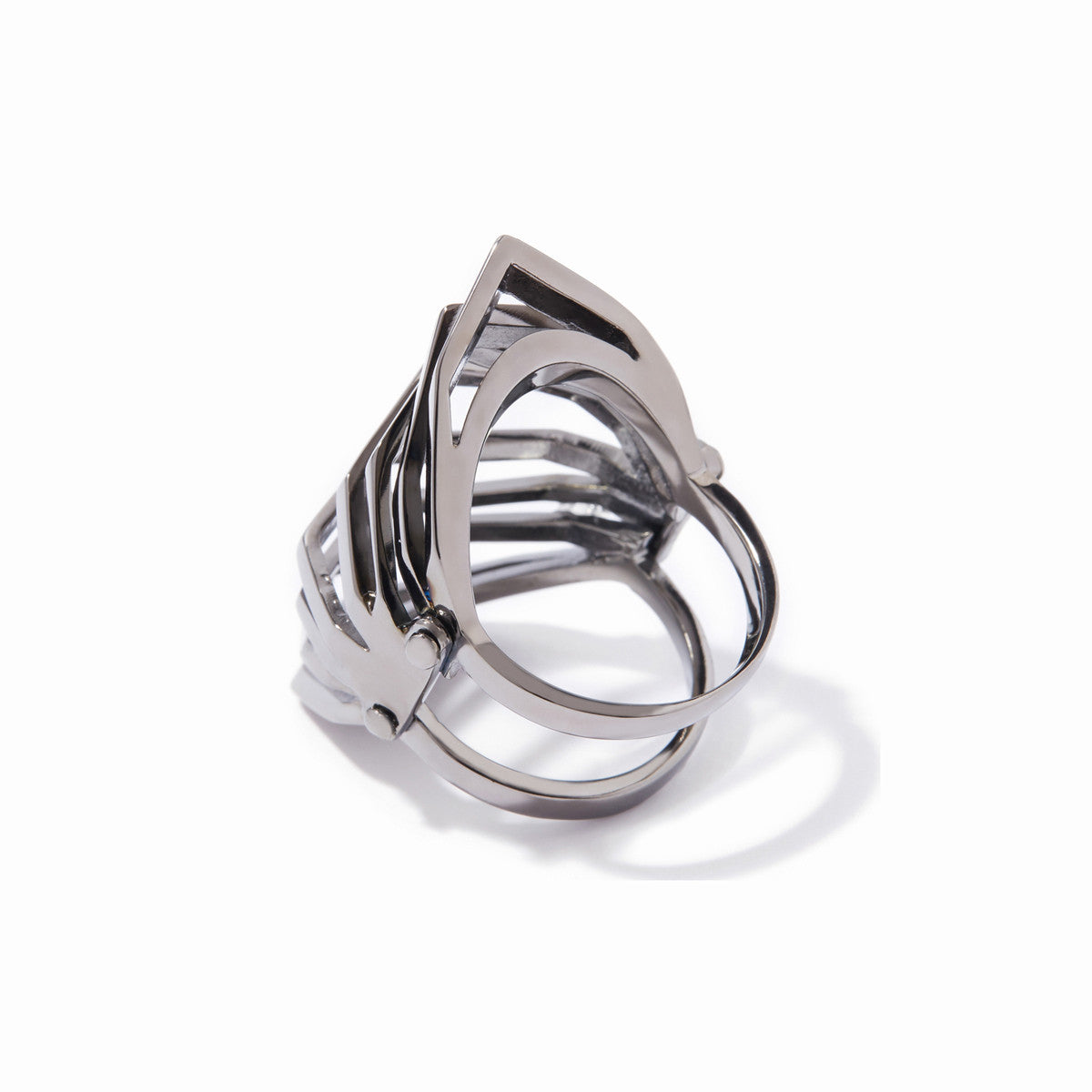 Aris Hinged Cut-out Ring - Hematite